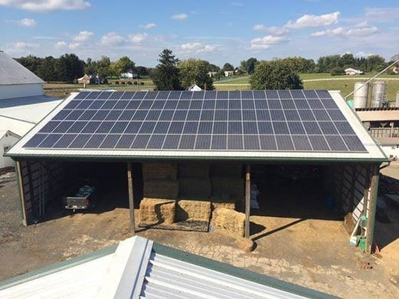 Pictured is a Roof Mounted Solar Panel System on a Standing Seam Metal Roof