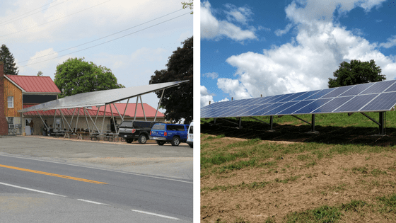 Pictured is a Carport and Ground Mounted Solar Panel System