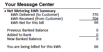 Net Metering Summary on Electric Bill
