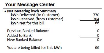 Net Metering Summary on Electric Bill