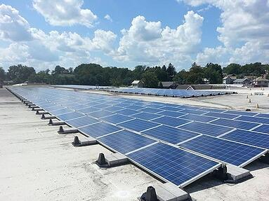 ballast mounted solar panels on flat commercial roof