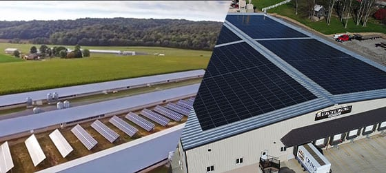 agricultural ground mount solar system with roof mount solar system on business