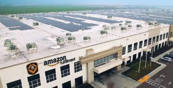 solar panels on roof of amazon fulfillment warehouse