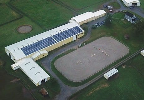 Solar panels on barn at Woodvale Farms in Frederick, Maryland