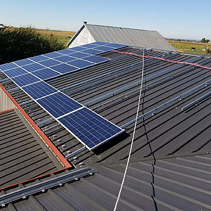 Progress picture of a solar panel installation