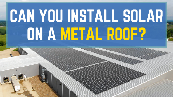 Graphic showing solar panels installed on a metal roof