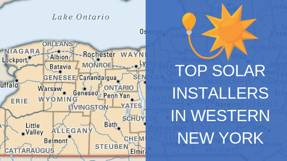 map of western ny with top solar installers in western new york text