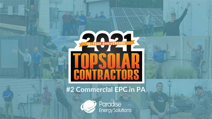 Paradise Energy Ranks on Top Solar Contractors List in 2021